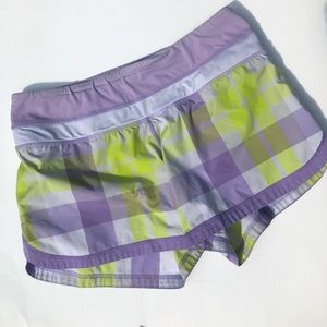 Lululemon Speed Up Shorts 2.5 Purple Plaid